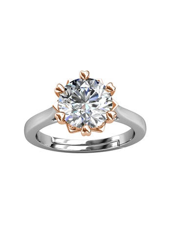 Her Jewellery silver CELÈSTA Moissanite Diamond  - Le Fond Ring (925 Silver with 18K White Gold Plating) by Her Jewellery 87F76AC972A0A0GS_1