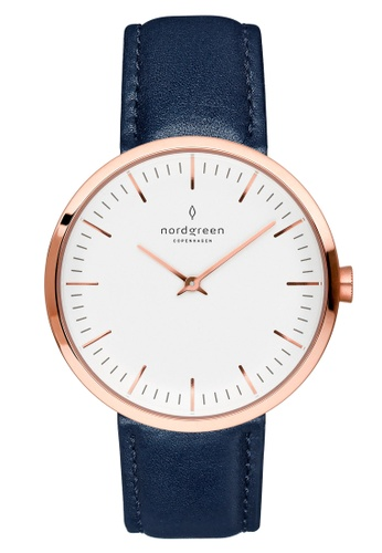 Nordgreen blue and gold Nordgreen Infinity Rose Gold 40 mm - Navy Blue Leather Watch C9828ACA117B73GS_1