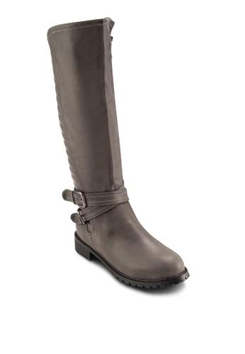 交叉針扣飾紋理中筒靴,esprit 兼職 女鞋, 靴子