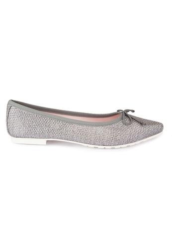 MAUD FRIZON silver Glitter Fabric Flats MA153SH28YFFHK_1