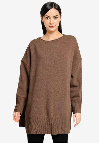 LOWRYS FARM brown Tunic Knit Pullover 92DF8AA2D22935GS_1