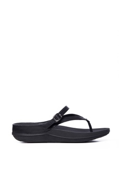 d0d6427a4ad0a FitFlop black Fitflop Flip Leather Sandals All Black 3CB51SH0EEB321GS 1
