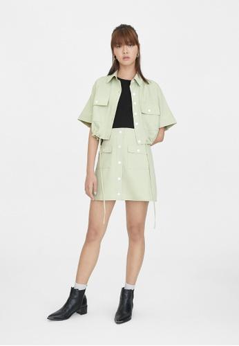 Pomelo green Double Pockets Button Up Skirt - Light Green FC0AFAA152790EGS_1
