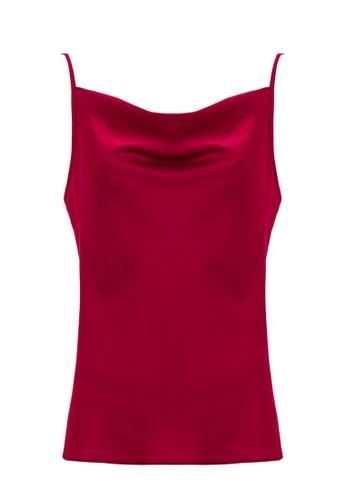 Jimmy Sanders 紅色 Jimmy Sanders Women's Asymmetric cowl neck Blouse 714B3AA93EA875GS_1