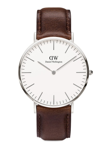 Daniel Wellington brown and silver Classic Bristol 40mm Silver Watch 504D3ACEBE4A23GS_1
