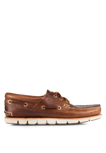 Timberland brown Tidelands 3 Eye Padded Boat Shoes TI063SH0RP7QMY_1