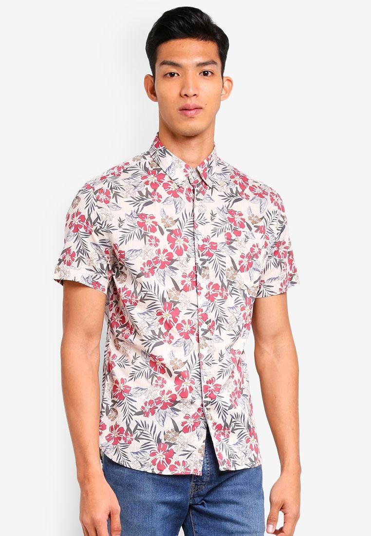 Man Regular Fit White MANGO Tropical Print Shirt XgSFqvw