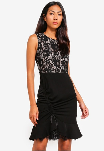 bYSI black Lace Trim Ruched Dress A0D2CAAE43E034GS_1