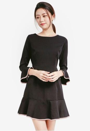 Yoco black Flutter Sleeve Dress 7B8CEAA73AC016GS_1