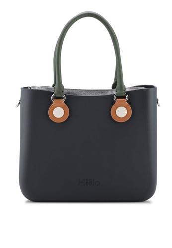 Hoola Hoola grey Alma Tote Classic - Lavastone with Olive & Caramel handles 13514ACF04A0E2GS_1