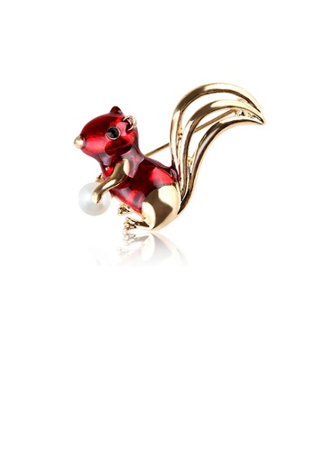 Glamorousky white Simple and Cute Plated Gold Red Squirrel Brooch with Imitation Pearls 19695AC1BD791AGS_1