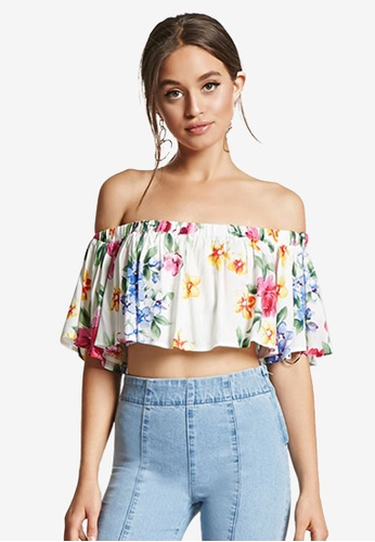 cf69393f9edc3 Buy FOREVER 21 Floral Ruffle Crop Top Online on ZALORA Singapore
