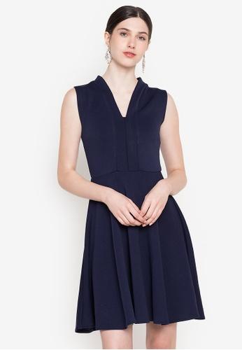Ashley Collection navy V-Neckline Sleeveless Skater Dress 4ED8DAAC8E6820GS_1