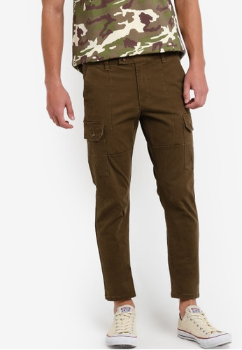 Sparrow Green brown Kendrix Cargo Slim Pants by ARC SP065AA82XPLMY_1