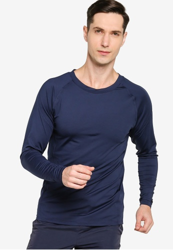 ZALORA ACTIVE navy Fitted Long Sleeve T-Shirt 9B1CCAA35C851AGS_1