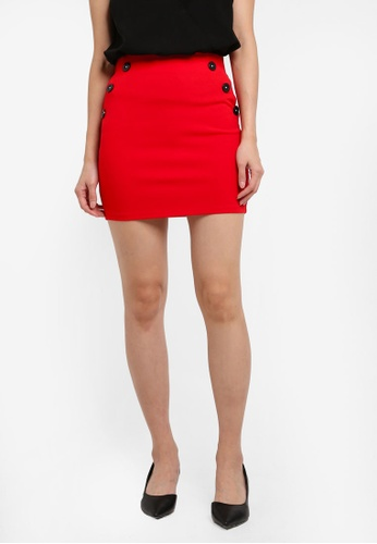Miss Selfridge red Red Button Waist Mini Skirt 42065AA11F2D4AGS_1