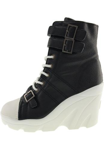 Maxstar Maxstar Women's 3 Buckles High Wedge Heel PU Mid Calf Boots US Women Size MA168SH32ZVJHK_1