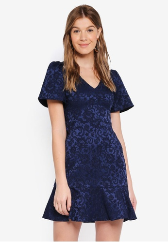 Forever New blue Skye Jacquard fit and flare dress B4A37AA73DB0C4GS_1