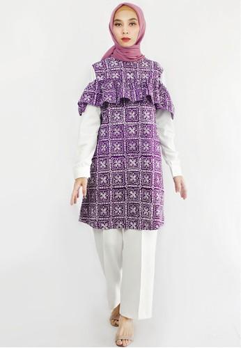 INA PRIYONO white and purple TUNIK BELLA BATIK Motif Square by Ina Priyono F8147AA371AA01GS_1