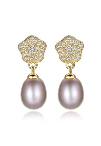 A.Excellence purple Premium Purple Pearl Elegant Earring 89D60ACBDB3487GS_1