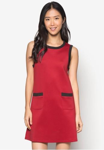 撞色滾邊直筒連身裙, 服飾,zalora 台灣門市 服飾
