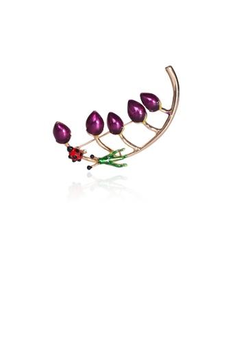 Glamorousky silver Fashion Creative Plated Gold Purple Floral Ladybug Brooch AAE58AC5A54FD5GS_1