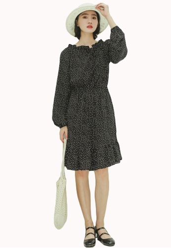 Shopsfashion black Polka Dot 2-way Flare Dress in Black 23B20AA0388397GS_1