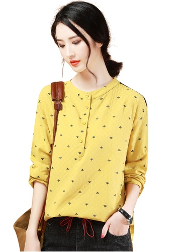 A-IN GIRLS yellow Fashion Stand Collar Printed Blouse BE520AA336E74BGS_1