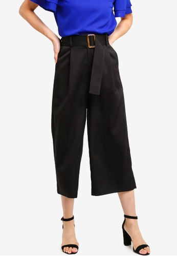 ZALORA BASICS black Basic Belted Cropped Trousers EE1C3AA7428364GS_1