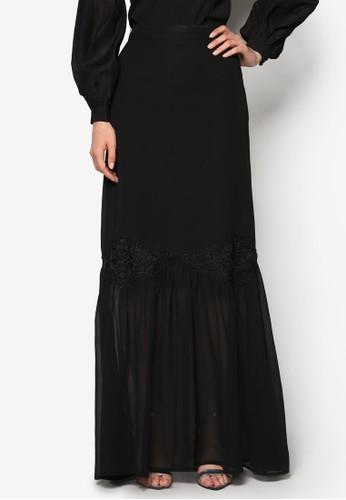 蕾絲褶飾拼接長裙, zalora 心得服飾, 裙子