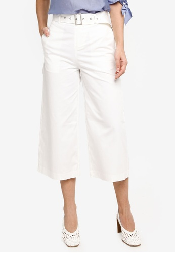 Hopeshow white Loose Fit Flare Cuff Capri Pants with Belt 65BB1AA139A3F7GS_1