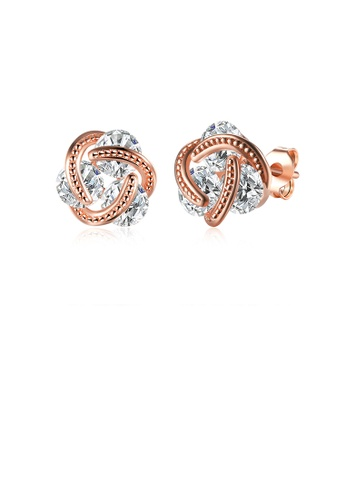 Glamorousky white Simple and Fashion Plated Rose Gold Spherical Cubic Zircon Stud Earrings 3F126AC371E668GS_1