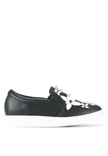 Something Borrowed black Flower Applique Slip On Trainers 6DDDFSHF2D1B89GS_1