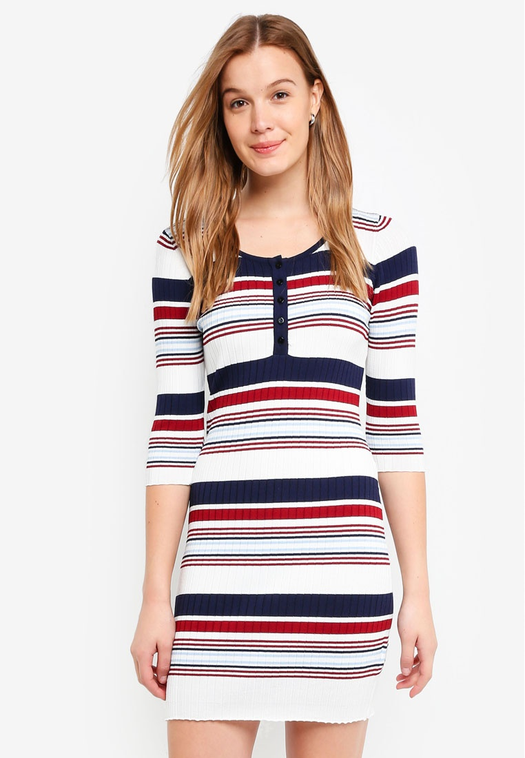 ZALORA Basic Rib Dress BASICS Stripes Mini Multicolour qAAt6U