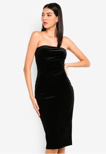 MISSGUIDED 黑色 無肩帶絲絨洋裝 16314AAE95072FGS_1
