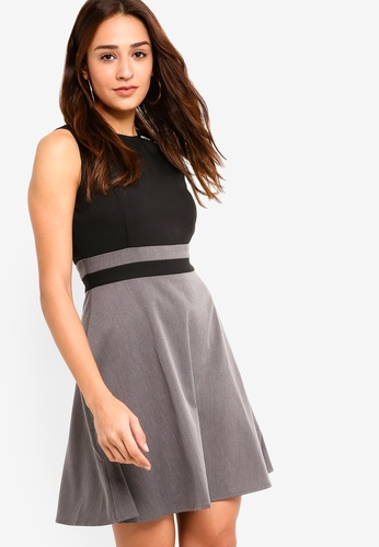 ZALORA black and grey Panel Fit And Flare Dress B428BAAA3CB8D8GS_1