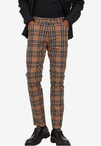 H&M multi and beige Skinny Fit Twill Trousers EEC94AAA9652E7GS_1