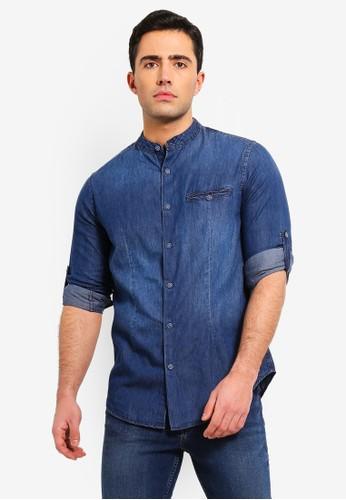 OVS blue Denim Shirt With Faded Effect 62CB2AAC8D2637GS_1