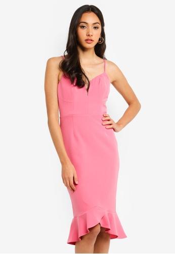 Bardot pink Kristen Peplum Dress C3DE4AA20474DCGS_1