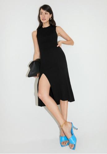 Pomelo black Midi Side Slit Dress - Black 1922DAA73B16F2GS_1
