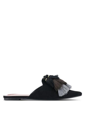 Velvet black Tassle Slip On Flats 9D3DBSHD125582GS_1
