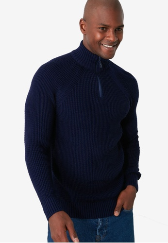 Trendyol navy Zipped Collar Ribbed Sweater 98344AAD6A7A63GS_1