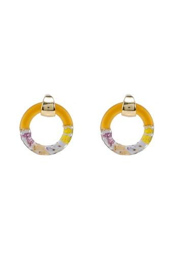 GLOBAL WORK yellow Floral Hoop Earrings 614EEACD67DABAGS_1