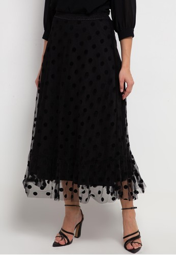 Icons black Ruffle Hem Dotted Tulle Skirt FFCBBAACD685AAGS_1