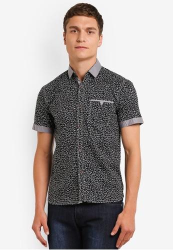 Fidelio black Microprint Short Sleeves Shirt FI826AA0RLWVMY_1