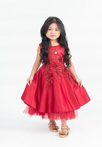 LASSIE & LADDIE red Abigail Red Floral Applique Dress 8C28EKA3B45BBAGS_1