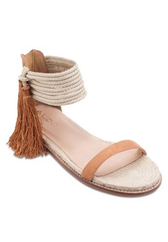 Yinda 多帶繞踝esprit au流蘇平底涼鞋, 女鞋, 鞋