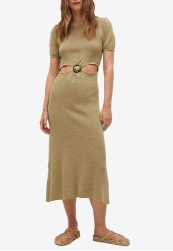 Mango beige Cut-Out Linen Blend Dress DD963AAC40C772GS_1