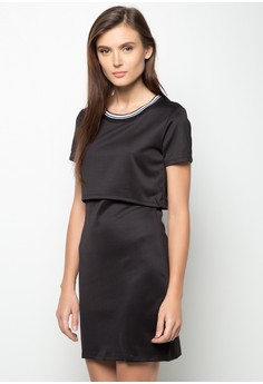Dress with Ribbed Neckline