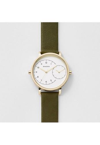 Skagen HAGEesprit 折扣N時尚簡約真皮錶帶女錶 SKW2476, 錶類, 時尚型